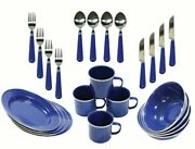 Ozark Trail 24 Piece Camping Dishes Dinnerware Enamel Set Picnic Bbq Barbecue