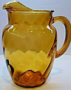 Vintage Amber Glass Optic Swirl Iced Tea Pitcher 87oz Indiana Glass By Bartlett