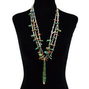 1930s Navajo Turquoise Mother Of Pearl Spiny Oyster Beaded Shell Necklace 34