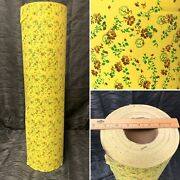 """Vtg Nos 70s Floral Print Wrapping Paper Department Store Roll 26.5"""" Wide"""