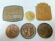 Lot Of 6 Very Rare Athletic Olympic Sport Large Medals