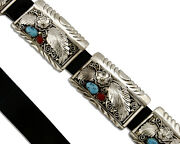 Concho Belt .925 Silver Coral Turquoise Native American C.80and039s