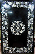 4and039x2and039 Black Marble Dining Coffee Center Table Top Mosaic Inlay Work 4