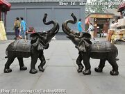 China Classical Pure Bronze Carved Lucky Elephant Feng Shui Art Statuary Pair