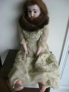 32 Antique/vintage Doll With Mink Stole