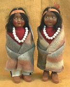 Native American Skookum Bully Good Indian Dolls Matched Couple Blanket Feather