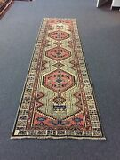 Antique Azabyjan Hand Knotted Vintage Area Rug Geometric Runner 2and03910x10and039326414