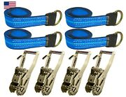 Usa 8pc Blue 8and039 Lasso Strap 2 Ratchet W/ Finger Hook Tow Truck Tire Wheel Tie