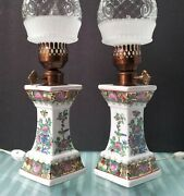 Lamps Asian Pair Vintage Mantle Porcelain Square Chinese Themed Lamp Japanese