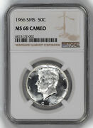 1966 Sms Kennedy Half Dollar 50c Ngc Ms 68 Mint State Uncirculated - Cameo 002