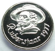 Belgium Antwerp Year Of Rubens 1977 Unc Medal 38mm 25g Silver In Box. B14