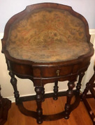William And Mary Revival Flip Top Gaming Table With Gate Legs And Needlepoint Top