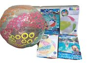 """4 Beach Pool Balls 20"""" Fluorescent Green Pink Red Blue Striped, Clear And White"""