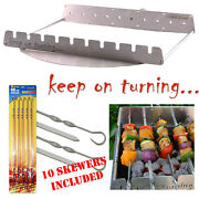 10 Skewer Rotating Rotisserie Set For 26 Round Weber Kettle Bbq Charcoal Grill