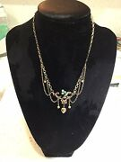 Enchanting Signed Antique Victorian Festoon Heart, Opal, Pearl G.f. Necklace