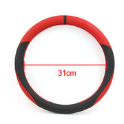 Universal 38cm Outer Dia Faux Leather Car Auto Steering Wheel Cover Black Red