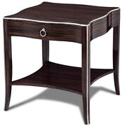 Side Table Scarborough House Chic Macassar Ebony Silver Leaf Drawer