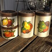Vintage Chein Co 4 Metal Canisters Fruits Kitchen 70s 80s Red Orange Brown Green