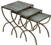 Nesting Tables Scarborough House Bronze Wrought Iron Engraved Floral Mirror