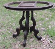 Antique Walnut Stained Oval Side Table Base And Apron - Needs Work