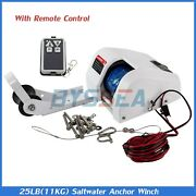 Boat Electric Anchor Winch With Remote Wireless Control Marine Saltwater 25 Lbs