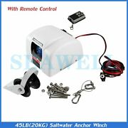 45 Lbs Boat Marine Electric Anchor Winch With Wireless Remote Free Fall