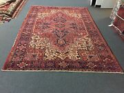 Semi Antique Hand Knotted Vintage Serapi Herizz Area Rug Geometric 8x11ft2496