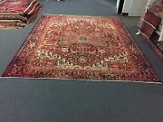 Semi Antique Hand Knotted Vintage Serapi Herizz Area Rug Geometric 9and0392x11and03912483