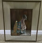 M. Weston Oil Board Painting Nude Woman Seated Chair Copper Glass Framed 21.5andrdquot