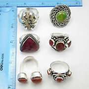 Vintage Jewelry Low Price Mixed Wholesale Lot 925 Silver Plated New Rings 6pcs