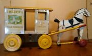 Antique 1920and039s Bordenand039s Horse Drawn Wagon Pull Toy Rich Toys