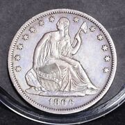 1866-s Liberty Seated Half Dollar - No Motto - Xf/xf+ Details 30705