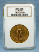 1924 20 Saint-gaudens Gold Double Eagle Ms-63 By Ngc