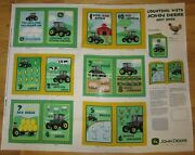 John Deere Tractor Counting Soft Book / Quilt Panel Fabric New 100 Cotton