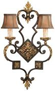 Castile Wall Sconce 2-light Gold Leaf Antiqued Hand-sewn Silk Shade Iron