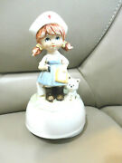Vintage Schmid Red Cross Nurse Music Box Doctor Md. Plays Tie A Yellow Ribbon