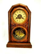 Antique 1870s Ingraham 30 Hour Chime And Alarm Wood Mantel Clock