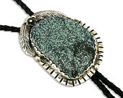 Navajo Turquoise Bolo Tie .925 Silver Spiderweb Turquoise Artist Signed Montoya