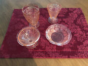 Lot Of 4 Vintage Depression Jeanette Cherry Blossom Glass Ware
