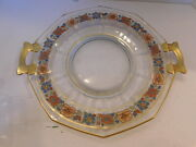Clear Glass Serving Plate With Munti-colored Flowers And Gold Trim And Handles