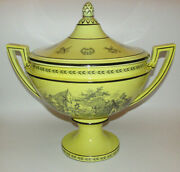 Vintage Mottahedeh Italian Yellow And Black Toile Creil Ware - Covered Tureen