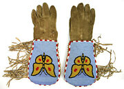 Lowered Price - Northern Plains Beaded Gauntlets, C. 1900s, 16 X 6.25