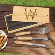 Personalized Engraved Three-piece Bbq Grill Tool Set With Pine Box - Custom Gift