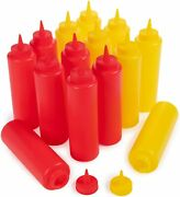 Squeeze Bottles 12 Oz Red Or Yellow Condiment Dispenser Ketchup Mayo Mustard