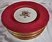 12 Antique Minton England Gold Floral Gilt Dinner Plates Red Maroon 10 7/8