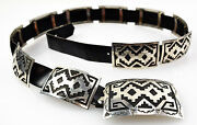 A. Henry - Navajo Sterling Silver Concho Belt Size 31-39 C. 1980-90s