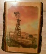 Old Wind Mill And Farm Picture On Hand Cut Wooden Plank By Garrett