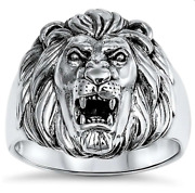 Solid 925 Sterling Silver Menand039s Lion Ring Sizes 7-12