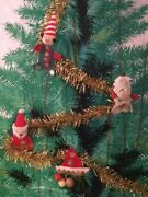 Vintage Christmas Tree Door Or Wall Decor With 22 Ornaments And Garland Japan