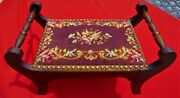 Antique Needlepoint/ Wooden Foot Stool Double Handle Brass Tacks 14 X 23